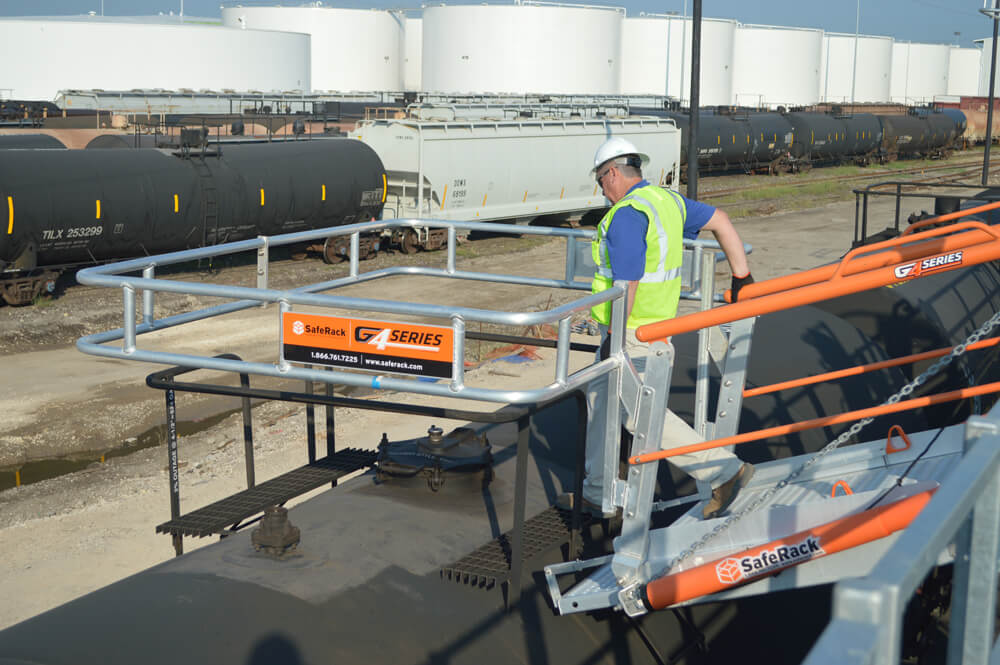 Railcar Unloading Gangway with Fall Protection
