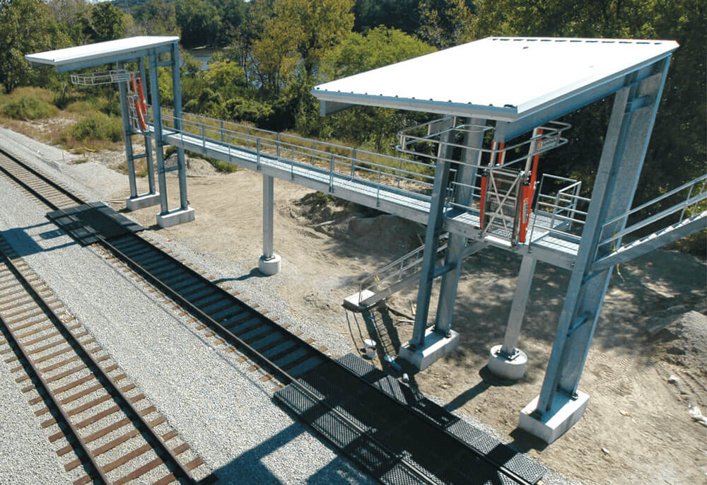 Railcar Unloading Platform with Canopy
